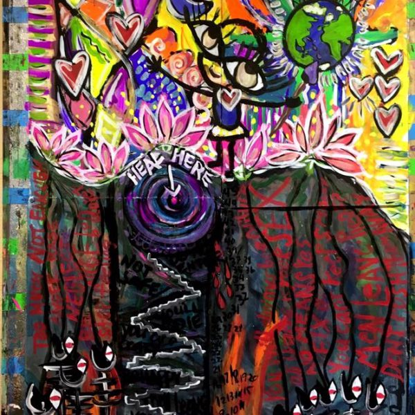 Artwork by Allison - a colorful upperworld and dark and scary underworld